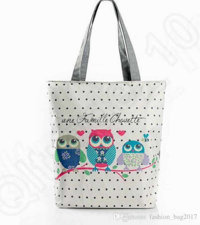 Kadınlar Rahat Seyahat Plaj Çantası Işlemeli Çiçek Çanta Gece Baykuş Baskılı Omuz Çantaları Tuval Kuşlar Bayan Alışveriş Çantası Kılıf