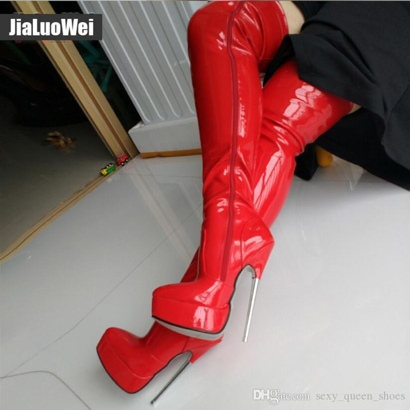 "18cm 7"" high heeled Women platform Thigh boots Over-the-knee Side full zipper Man Sexy Fetish Party Stage Show Shoes Pointed toe Blue Boot"