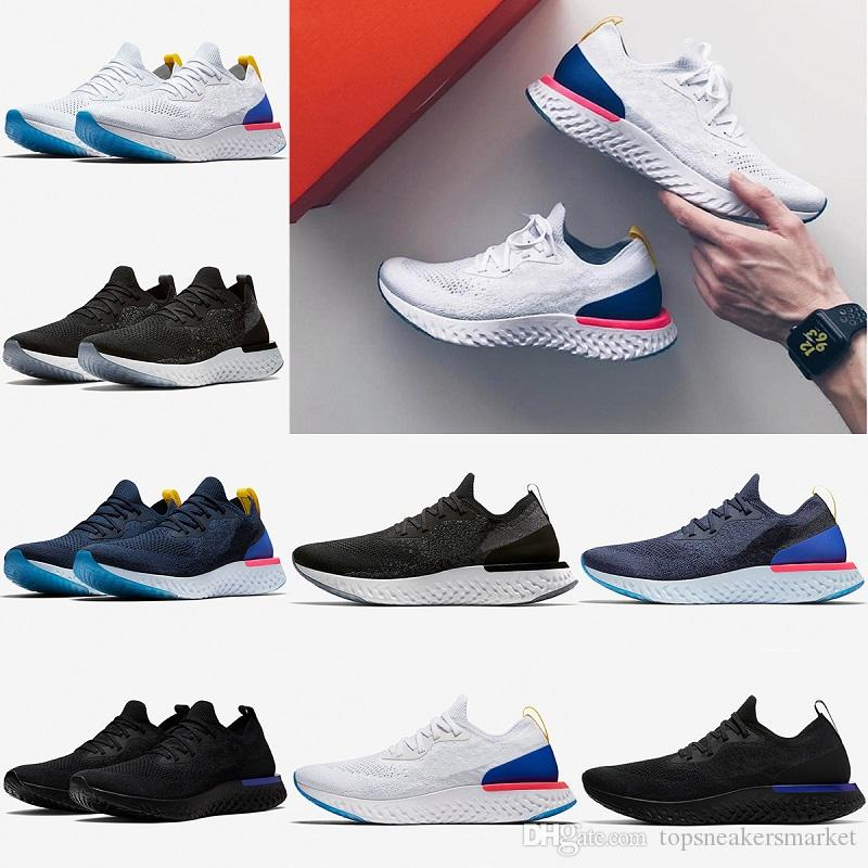 c6c11ffb633b Newest 2018 Epic React Running Shoes For Mens Womens Triple Black White  Oreo Blue Breathable Mesh Summer Spring Sports Sneakers Eur 36 45 Mens  Sneakers ...