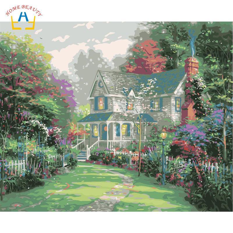Coloriage Maison Dans La Foret.Peintures Acryliques A Colorier Par Les Numeros De La Maison De La Foret Peintures Sur Toile Pour Le Salon Home Decor Wall Art Images Par Numeros