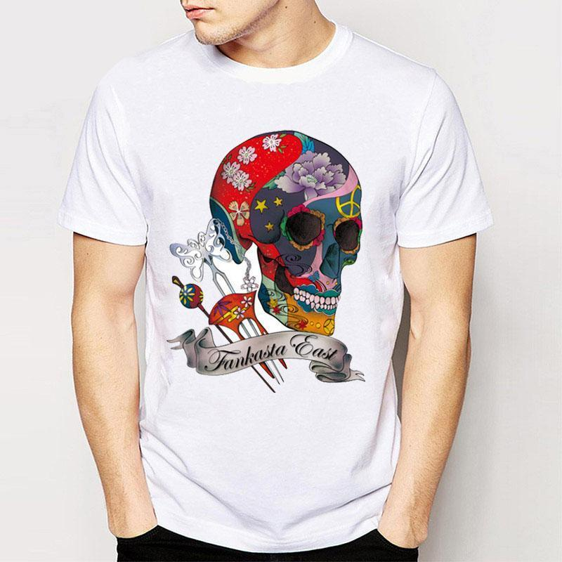 Track Ship+New Retro Cool Rock&Roll Punk Men Tees Harajuku Design Hipster T Shirts Japanese Sugar Skull Simple Style Painting