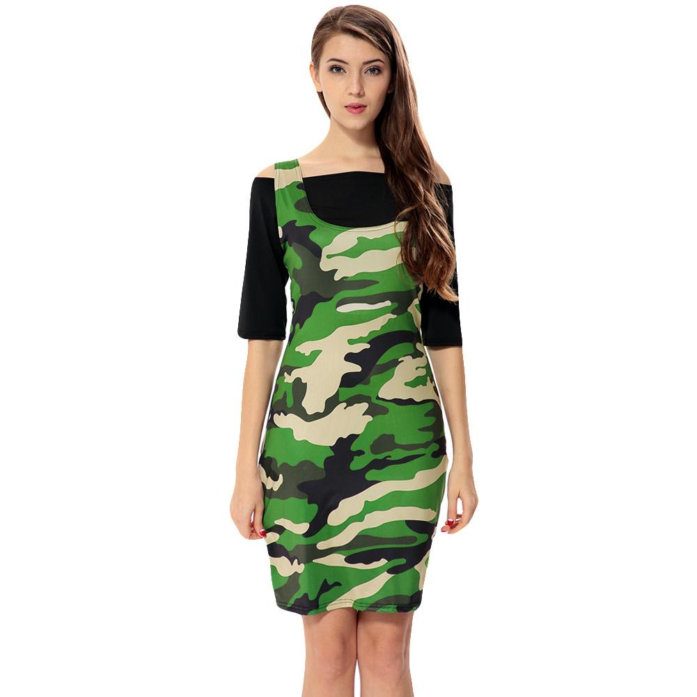 fac5af00c8 Compre Vestido De Camuflaje De Verano 2019 Mujeres Fuera Del Hombro Crop  Top Vestido Midi Bodycon Media Manga Casual Vestido De Camisa Verde Militar  De Dos ...