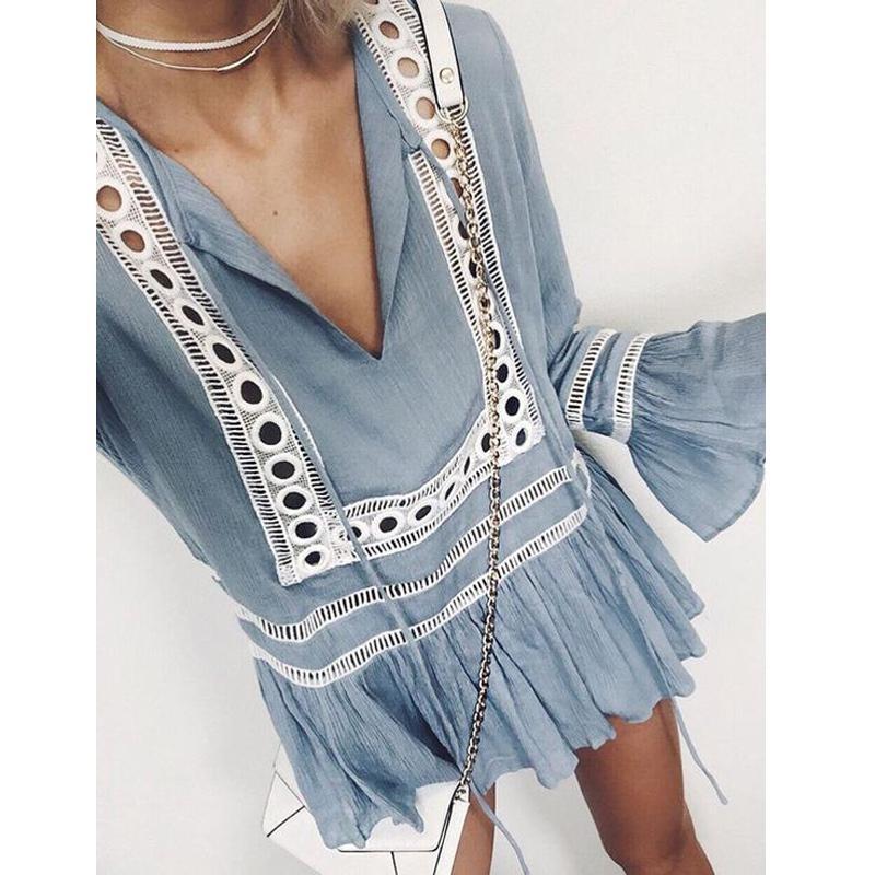 5ffe1b778d353 2019 Plus Size Blusas Boho Shirt Women Long Sleeve Flare Party Blouses  Loose Summer V Neck Hollows Ruffle Boho Blouse Women Doll Tops From  Modeng02