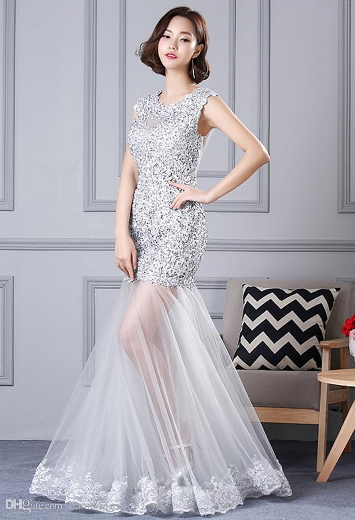Elegant banquet evening dress sexy back strap lower body transparent Tutu evening gown with Single decal