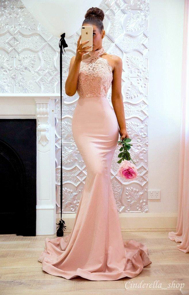 2020 Árabe Mermaid dama de honra Vestidos Halter Backless varredura Train Lace Top Longo Garden País Convidado de Casamento vestidos de madrinha de casamento vestido