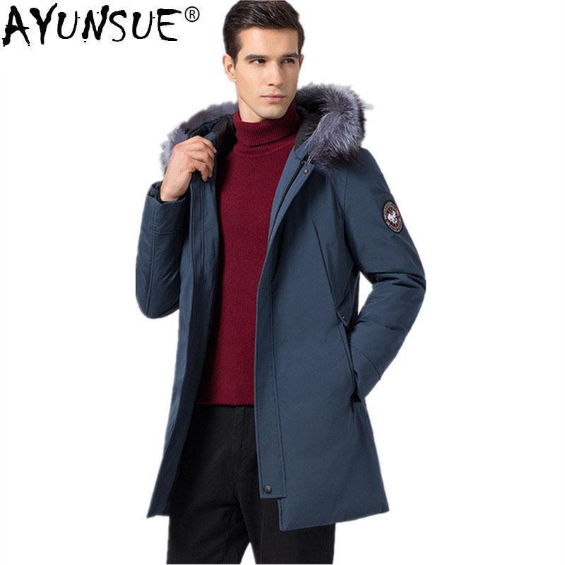 39c4c80fd AYUNSUE Duck Down Jacket Winter Jacket Men Canada Style Parka Men Raccoon  Fur Collar Long Coat Streetwear Chaqueta Hombre MY1191
