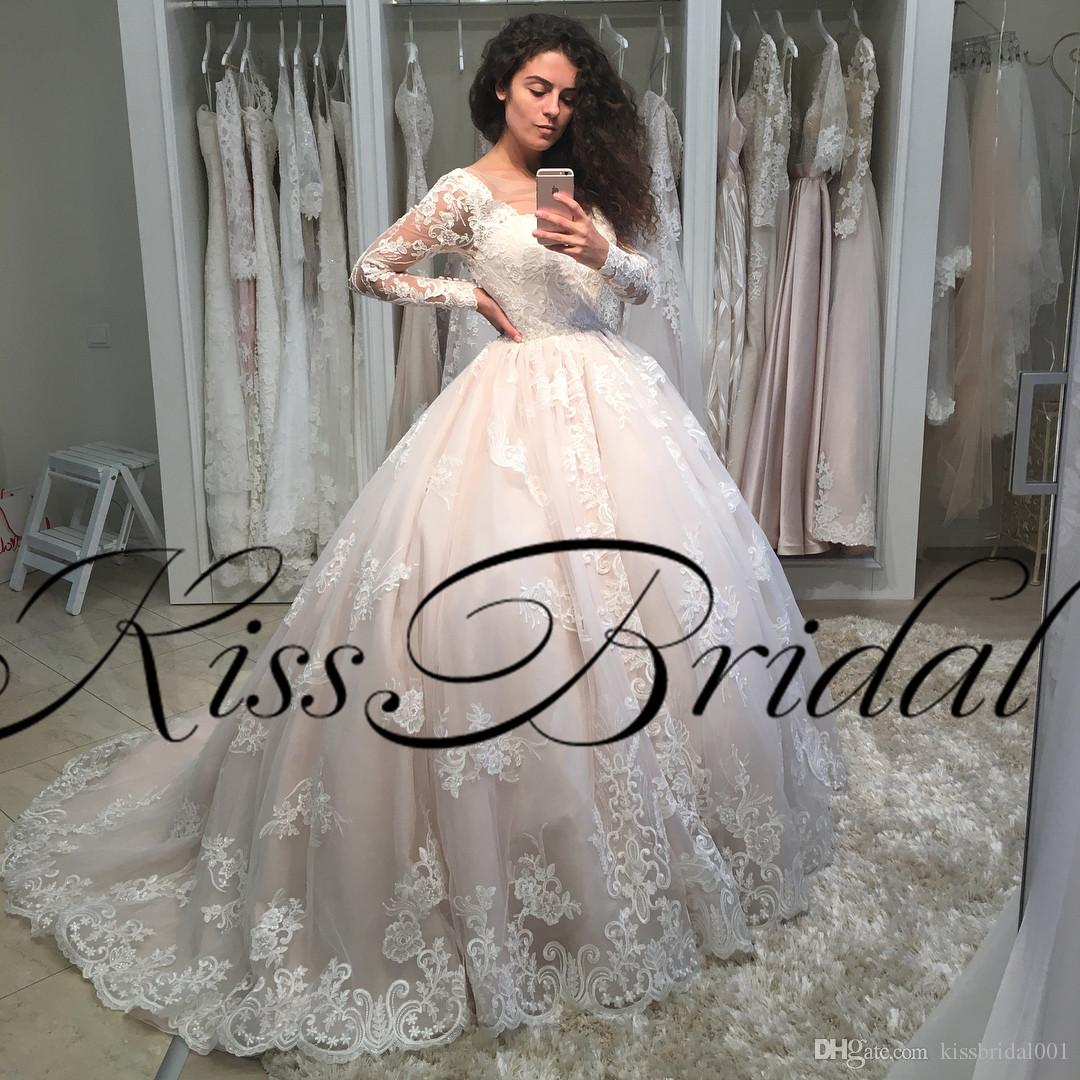 Retro Lace Wedding Dresses 2018 Vintage Long Sleeves Princess Ball ...