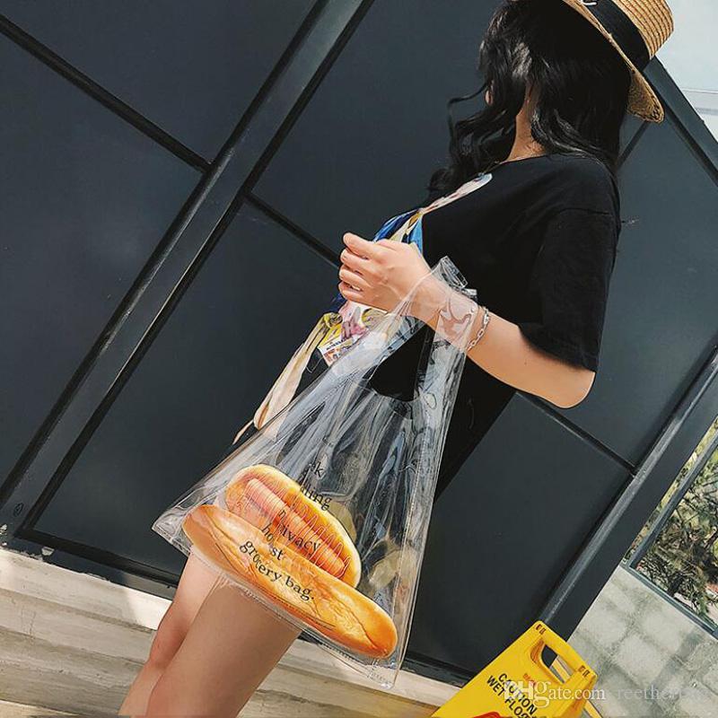 3abc7766aa Acquista Lettera Stampata Trasparente Plastica Tote Bag Pvc Grande ...