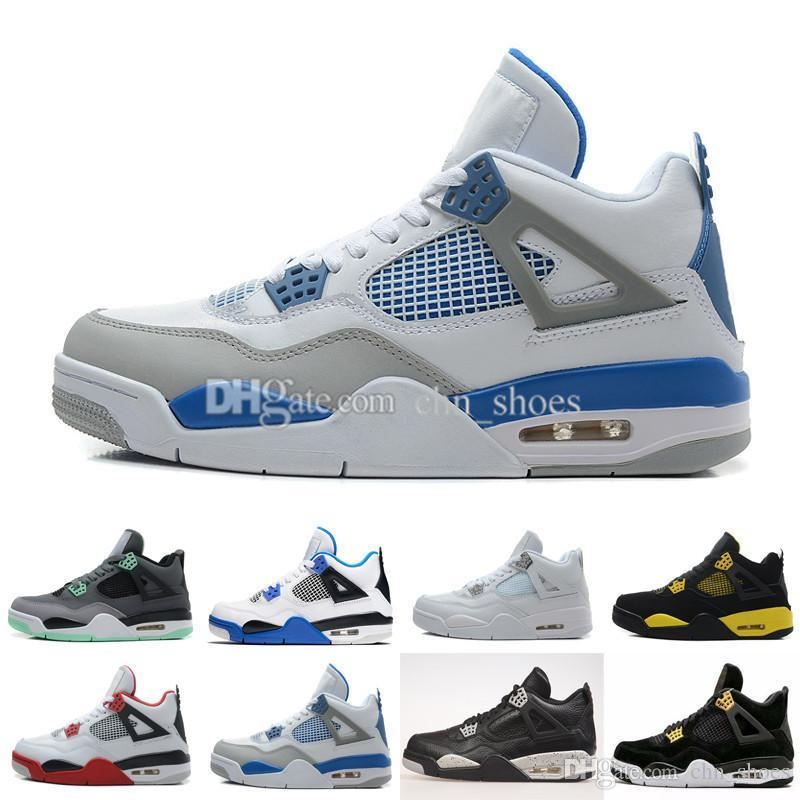 wholesale dealer a247b d0cda 4 Mens Basketball Shoes Military Blue 4s Pure Money Black Cat Royalty White  Cement Premium Black 16 Colors US8-13