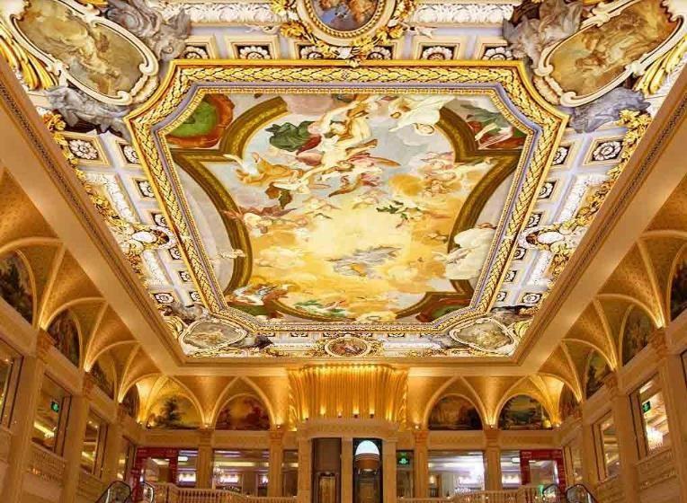 Fondos de pantalla de murales del techo retro en 3D de Europa Paisaje de esclavos Fondos de pantalla para sala de estar No tejido Papel tapiz 3d de techo