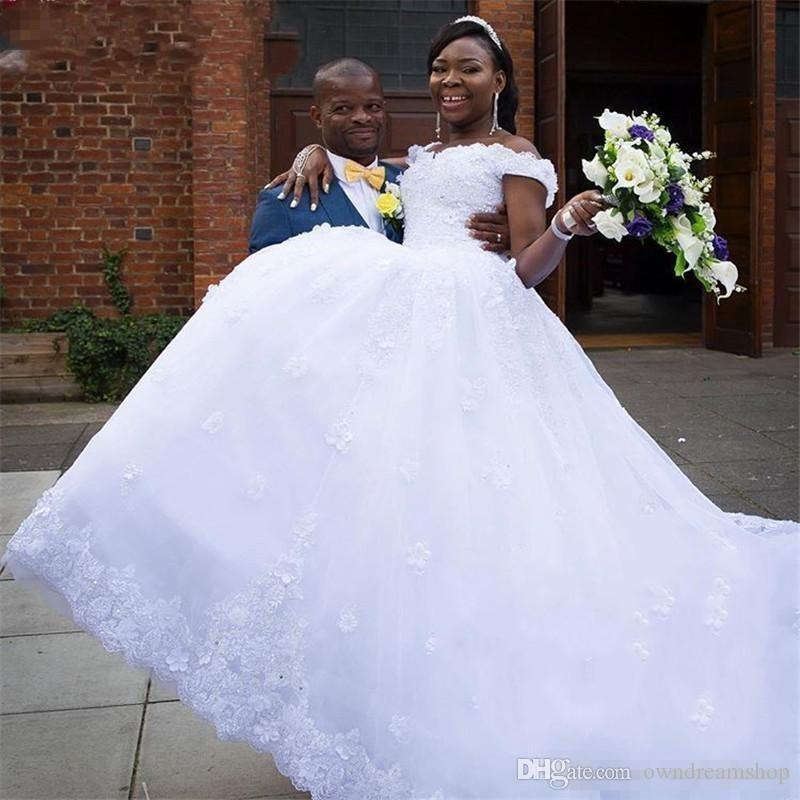 d9f4d71b231 Discount African Black Girls A Line Wedding Dresses 2018 Vintage Off  Shoulder Lace 3D Floral Country Black Nigeria Bridal Gowns Lace Up Cheap Lace  Wedding ...