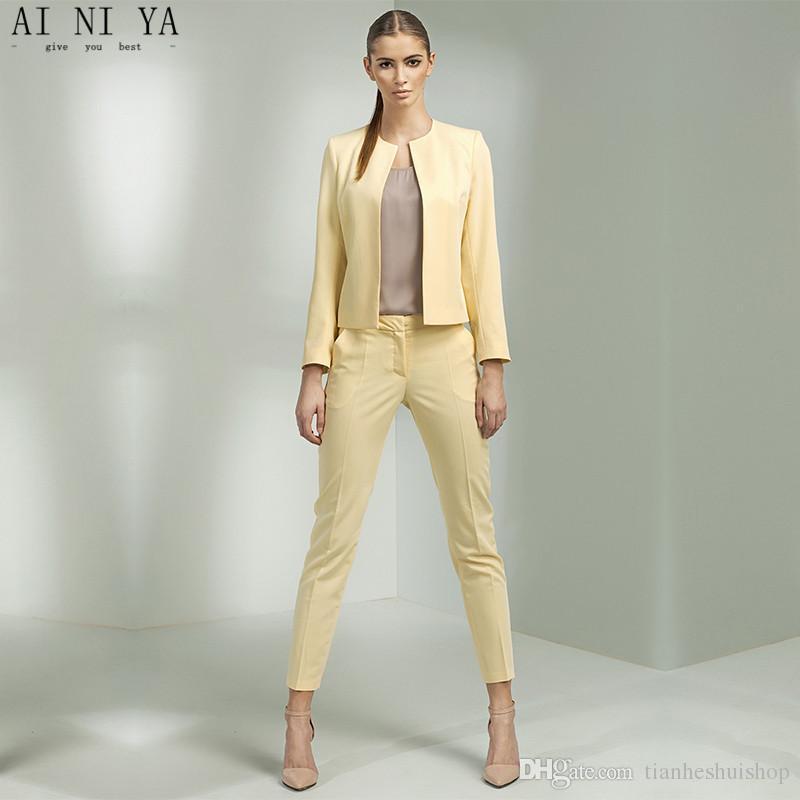3a8325d46e Acquista Pantaloni Da Giacca Giallo Donna Affari Abiti Da Ufficio Uniforme  Disegni Donna Pantaloni Da Lavoro Donna Formale Abbigliamento Da Lavoro  Blazer ...