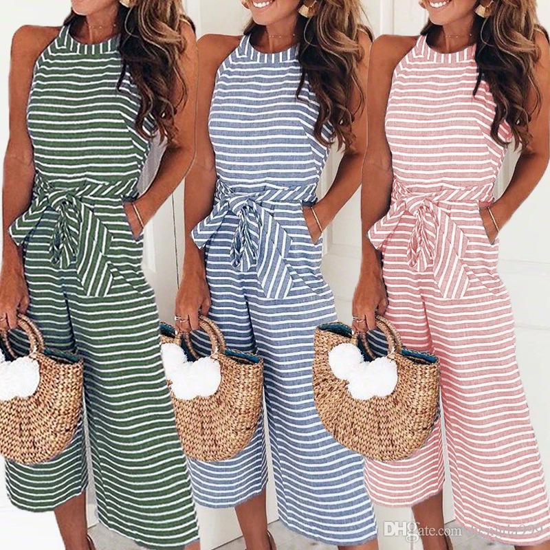 583c0b9bf75bd5 2019 Women Summer O Neck Bowknot Pants Playsuit Sashes Pockets ...