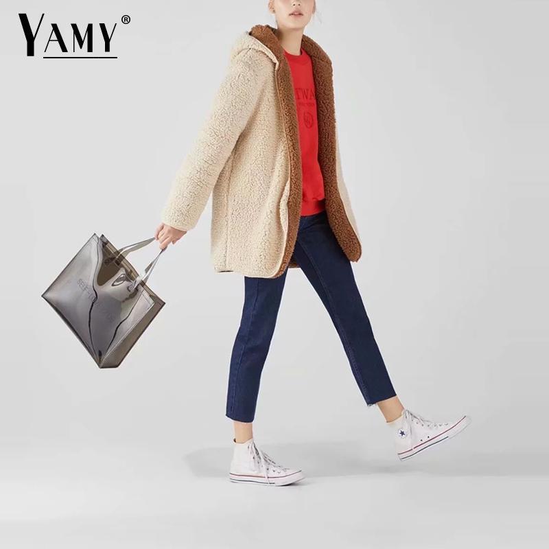 Kapuze Frauen lange Streetwear warme Frauen pelzigen Beidseitig mit Kunstpelz Wintermantel Vintage Mantel 2018 Jacke koreanische Lämmern eWD92IYEHb