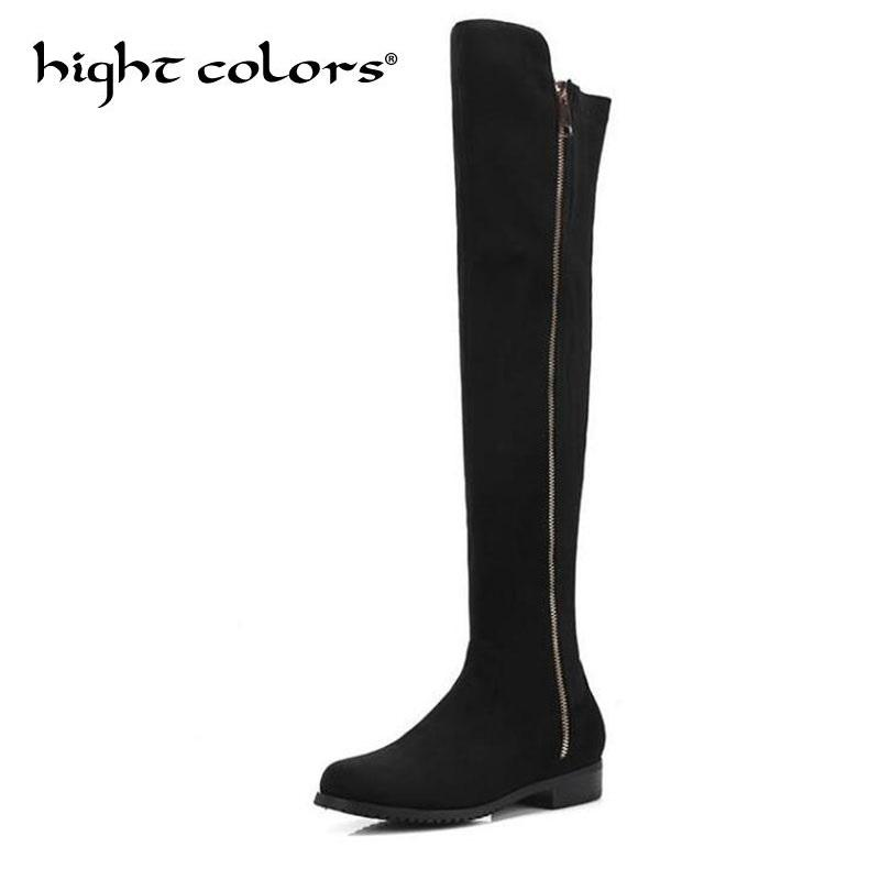 a08e1f9cda8 Low Heeled Knee Boots Female Side Zipper Women Over The Knee Boots Flat  Stretch Sexy Fashion Shoes 2019 Black Dark Gray Wine Red Rain Boots For  Women Wedge ...