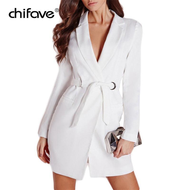 8b476e9415e4 Compre Elegent Long Suit Blazers Mujeres Manga Larga Cinturón Slim Blazers Abrigo  Chaqueta Con Cuello De Muesca En V OL Oficina De Señora Outwear Chifave A  ...