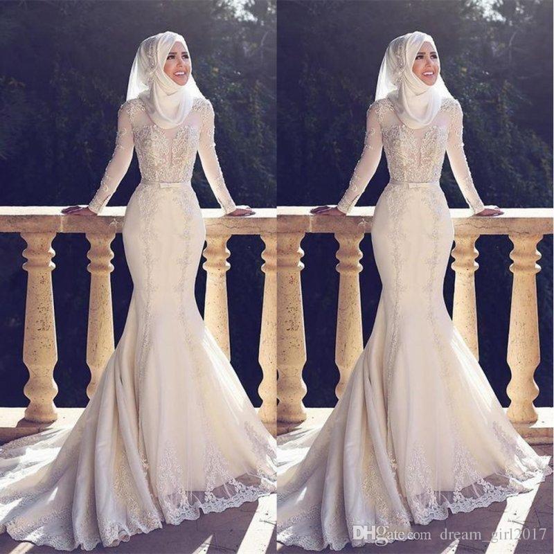 2018 Muslim Pakistan Middle East Wedding Dresses High Neck White Applique  Lace Long Sleeved Bridal Wedding Gowns Mermaid Sweetheart Wedding Dress  Mermaid ... fbd00dee063c