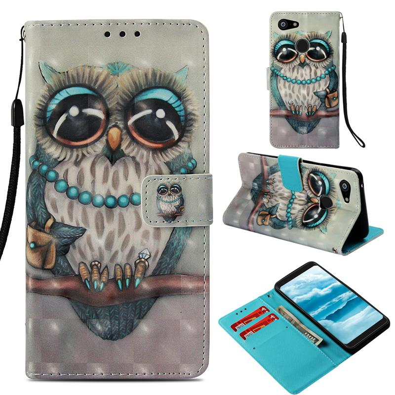 3D Glitter gemalt Brieftasche Flip Ledertasche für SONY XZ3 XZ2 Premium XZ1 XZ XA XA2 Plus Ultra L2 Google Pixel 3 XL Alcatel 7 Folio