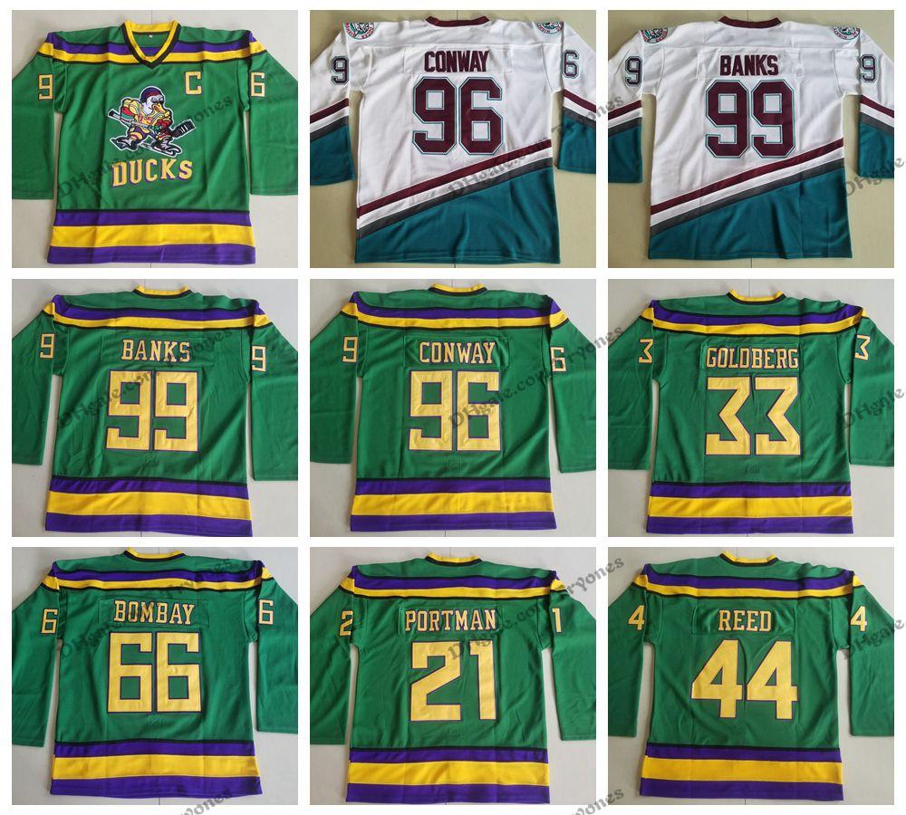 ef435beb7 2019 Mighty Ducks Movie 96 Charlie Conway 99 Adam Banks 66 Gordon Bombay 44  Fulton Reed 33 Greg Goldberg 21 Dean Portman Hockey Jersey From Tryones, ...