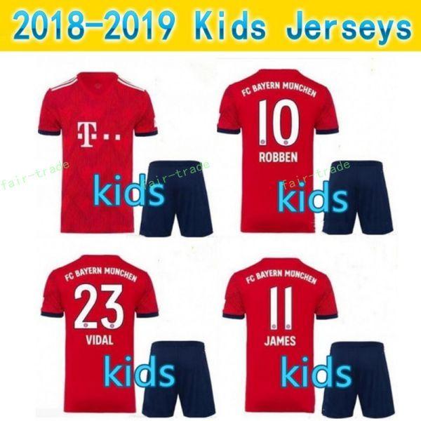 f2117af8844f1 Compre Kids Bayern Munich Camisetas De Fútbol JAMES KIMMICH RIBERY MARTINEZ  LEWANDOWSKI ROBBEN MULLER BOATENG VIDAL 18 19 Custom Youth Football Shirt A  ...