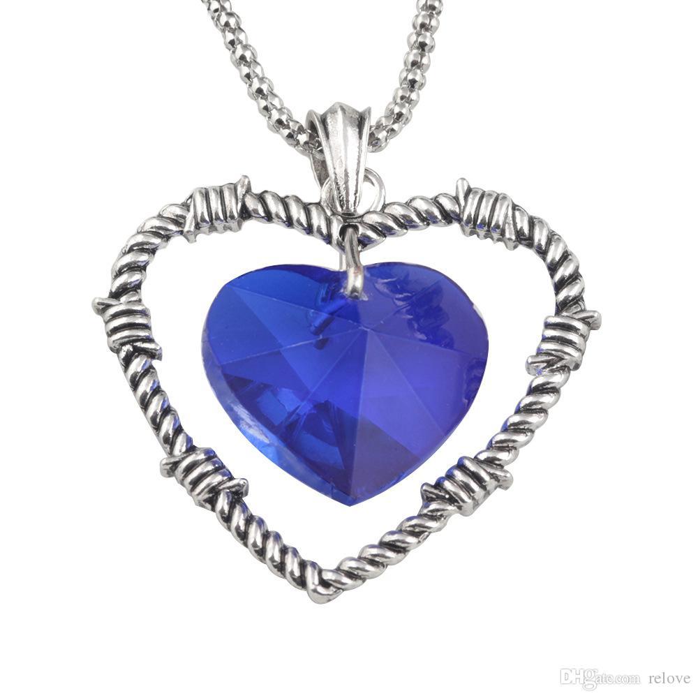 Love Of Heart Collana Titanic Diamond Collana Chain Sapphire Necklace Collana Jack and Rose Memory Collana Blue Diamond Double Heart Pendant