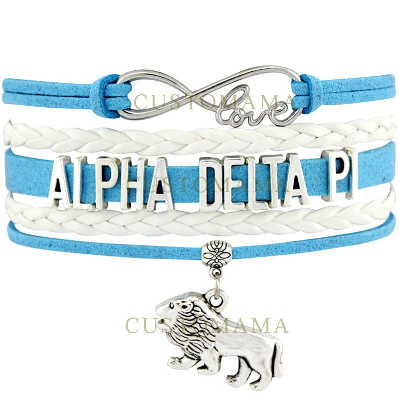 Custom -Infinity Love Alpha Delta Pi Lion Charm Wrap Bracelet Azure White Suede Leather Womens Bracelet Custom Any Themes