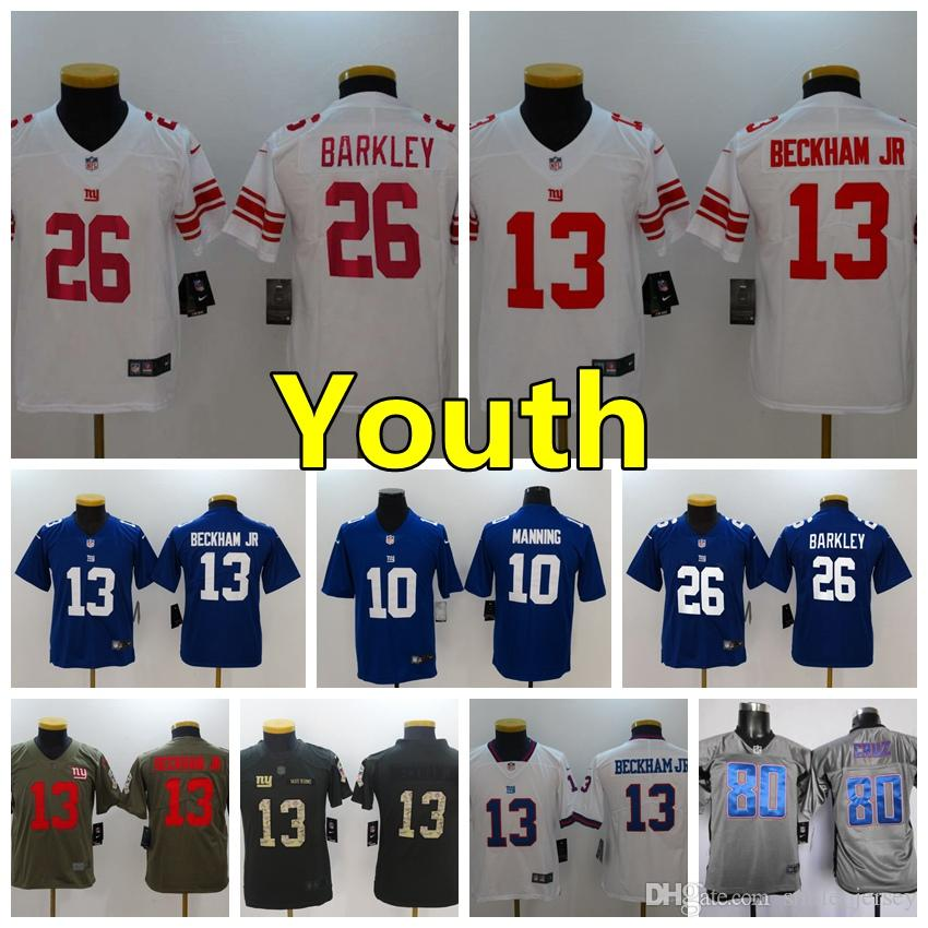 4cf0271e Youth 13 Odell Beckham Jr New York Giants Kids Football Jersey Stitched  Embroidery 26 Saquon Barkley 10 Eli Manning Boys Football Shirts