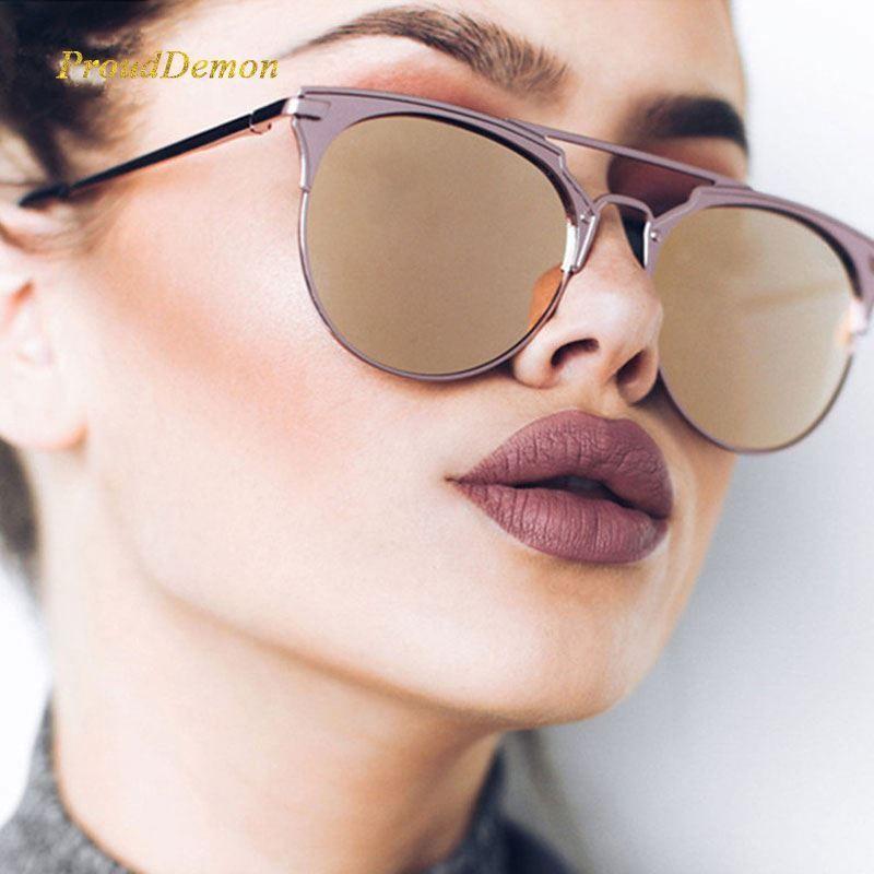 4257d85e3710b Mirror Rose Gold Cat Eye Sunglasses Women Round Luxury Hot Female Sun Glasses  Women 2018 Fashion Oculos Star Style Shades Eyeglasses Sunglasses Hut From  ...