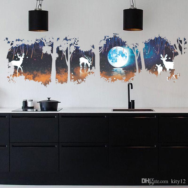 Очень большой олень в лесу стены искусства настенной росписи декор Гостиная Спальня Главная наклейка обои плакат искусство декор