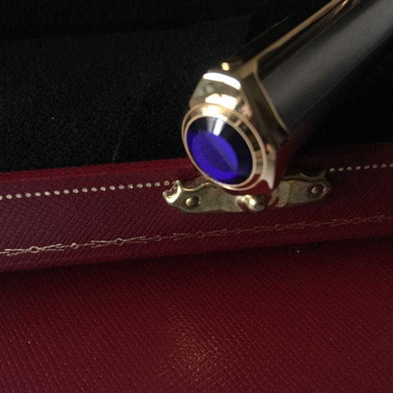 Penna a sfera in pietra blu di lusso con penna a sfera e ct