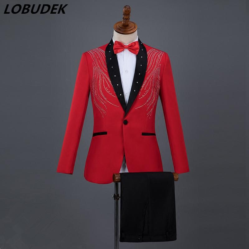 2019 Blue Red White Black Slim Men S Suits Shining Rhinestones Suit Adult  Performance Clothes Chorus Bar Singer Host Wedding Master Stage Costume  From ... 76ca3de63d4a