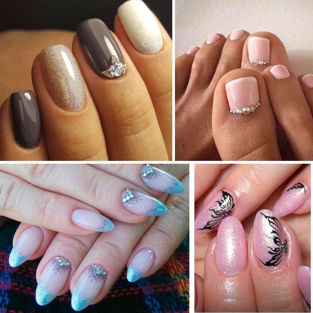1 estuche Cristal Rhinestones Uñas Consejos Claro / AB No Hot Fix Pegamento DIY Brillo Diseños Nail Art Manicure Mixed Size 3D Stones