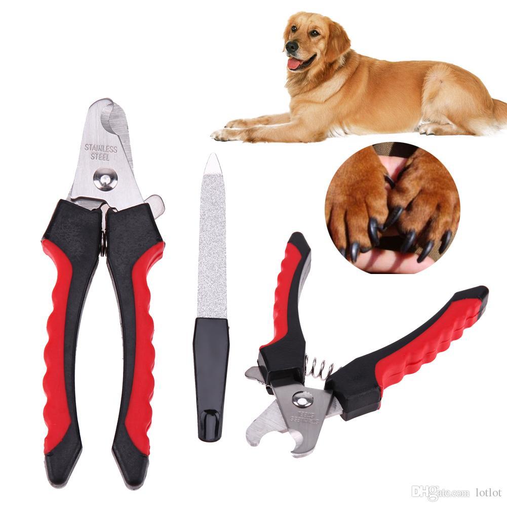 2 unids / set Herramienta de Cortador de Acero Inoxidable de Seguridad para Uñas de Mascotas Garras Tijera Perro de Mascota Archivo de Uñas Cuidado del Dedo Trimmer Clipper Pequeño 12 cm E5M1