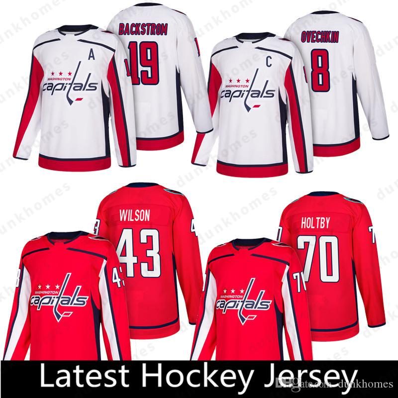 987ea405dd9 2019 Washington Capitals 8 Alex Ovechkin 77 T.J. Oshie 92 Evgeny Kuznetsov 19  Nicklas 43 Tom 65 Andre Burakovsky Hockey Jerseys From Dunkhomes, ...