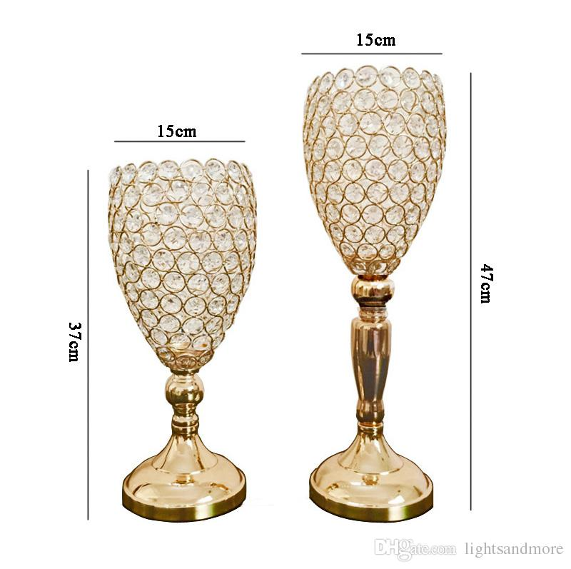 Gold Silver color crystal beaded flower stand wedding table centerpiece crystal vase event decor candle holder