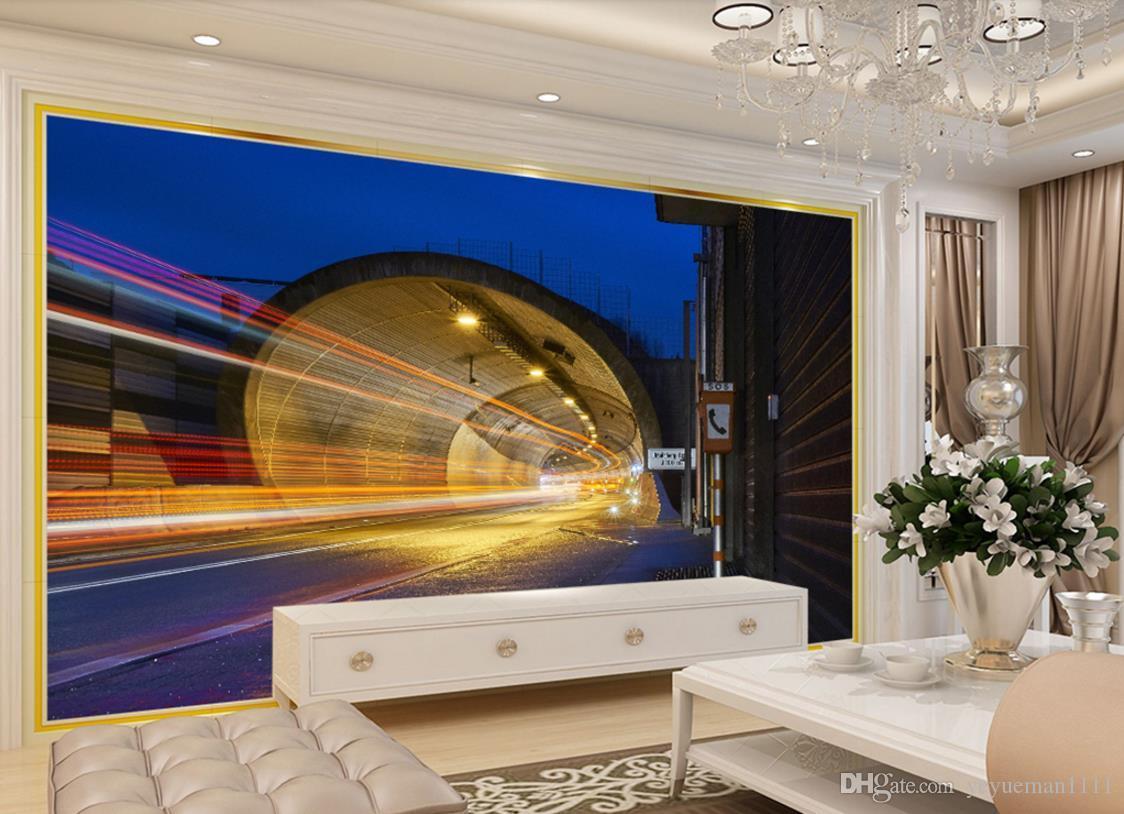 Benutzerdefinierte Tapete für Schlafzimmer Wände Wohnzimmer Hintergrund TV  Hintergrundbild Tunnel Licht Streifen Tapete Ziegel