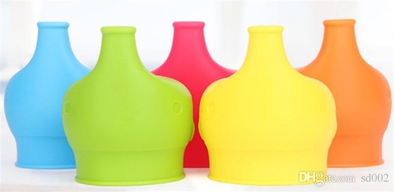 Elephant Cup Cover Lebensmittelqualität Silikon Auslaufsicher Soft Anti Überlauf Flaschenverschluss Sleeve Drinkware Deckel Stroh Teile New 4 2ks V