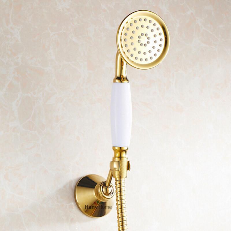 2018 Gold Brass & Ceramics Telephone Hand Held Shower Head Bathroom ...