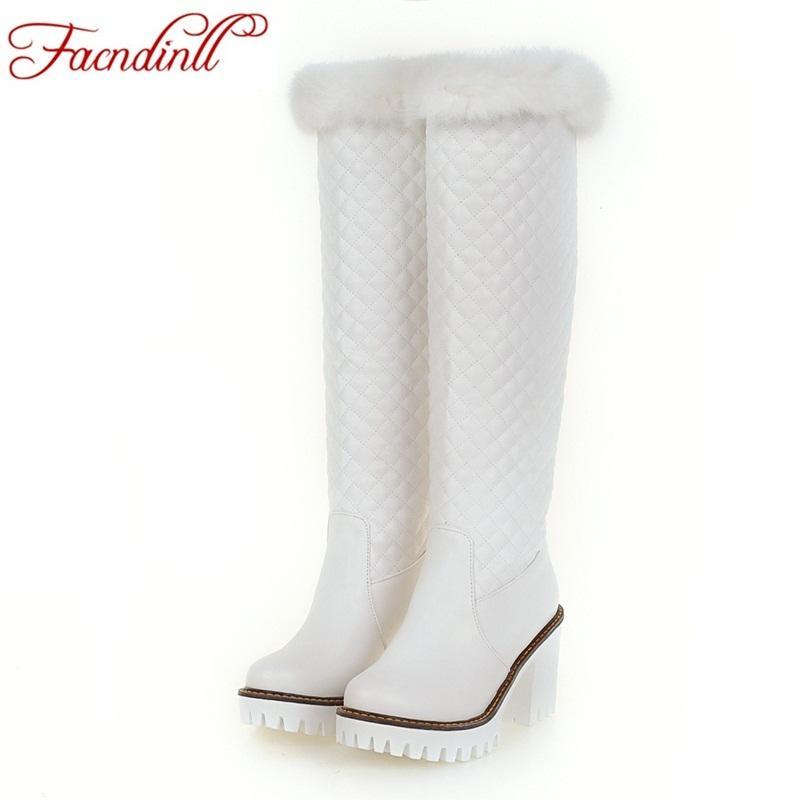 7ab57859 Compre FACNDINLL Botas De Nieve De Invierno Las Mujeres De Piel Cálida  Zapatos De Peluche Cortos De La Mujer Sobre La Rodilla Botas De Altura  Altura Botas ...