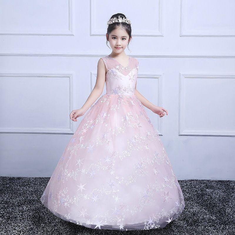 2018 New Style Teenagers Kids Girls Wedding Long Girl Pink Dress ...