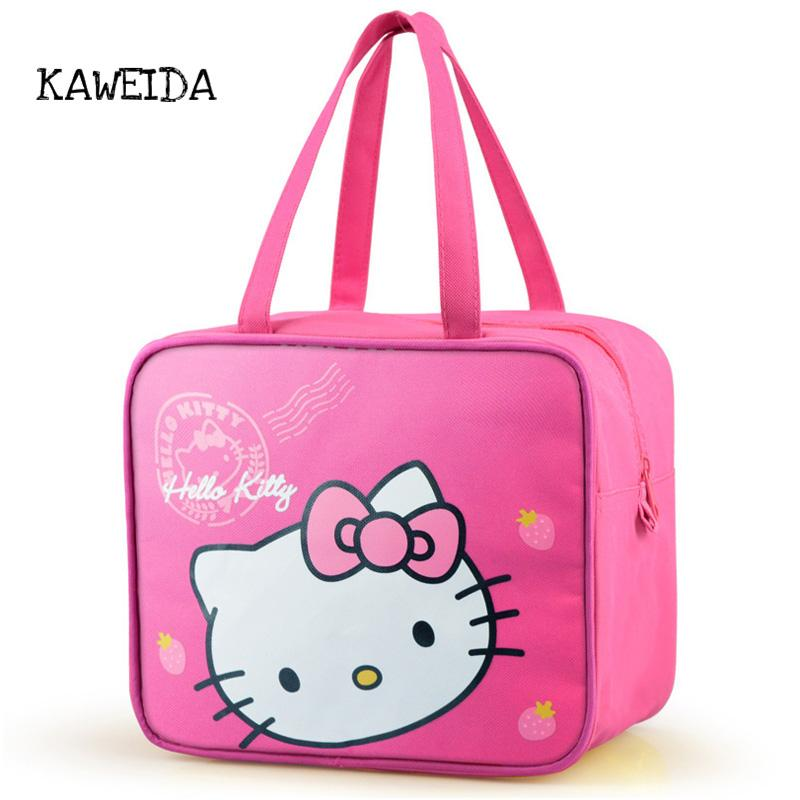 Hello Kitty Pink Insulated Lunch BAG For Kids Pink Tote Lunchbox Aluminum  Foil Heat Insulation Container Box Canvas Cooler Bags Leather Handbag  Luxury ... 70b6a4f677830