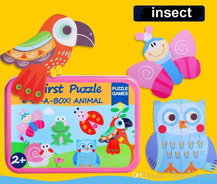 Nuovi giocattoli bambini 6 in 1 puzzle Set Ferro Box totale 6 puzzle Giocattoli di legno Animali del fumetto / Veicolo Giocattoli di legno Regalo educativo bambini