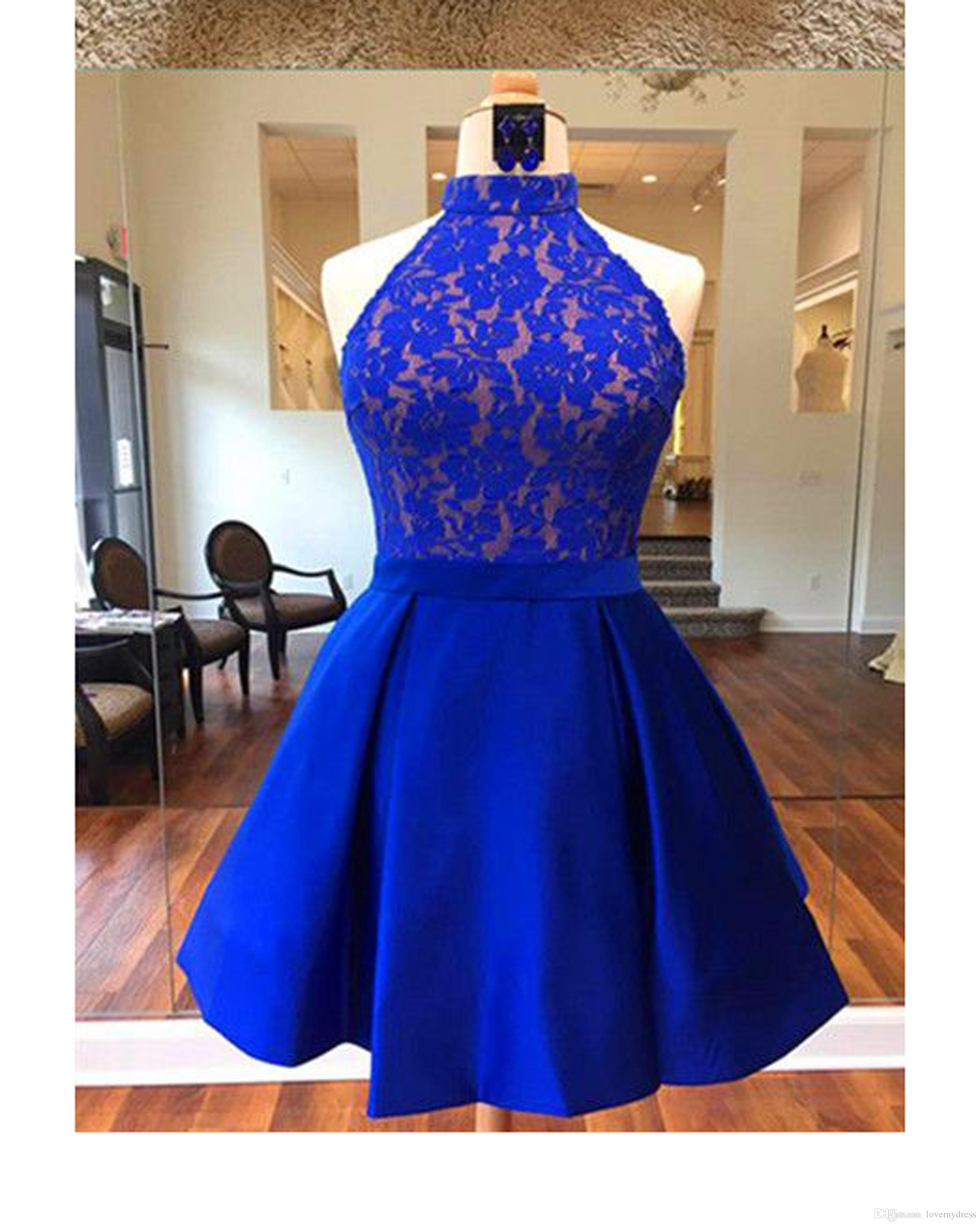 1a1e4fa7af633 High Neck Royal Blue Party Homecoming Dress Short Cheap A Line Satin Lace  Backless Short Prom Evening Graduation Dresses New For Girls Cute White  Party ...