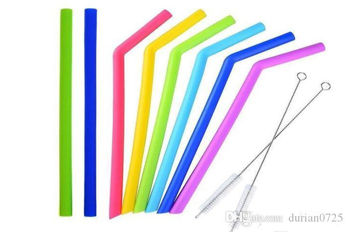 Hot ! Colored Food Grade Silicone Straw for 20oz 30oz cup Silica Gel Drinking Straw with brush
