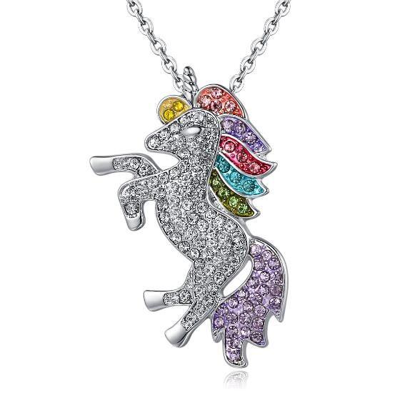 informazioni per 42dbf d1b07 Collana unicorno arcobaleno Ciondolo unicorno in cristallo Ciondolo  unicorno in cartone animato Accessori per gioielli ciondolo donna Collana  animali ...