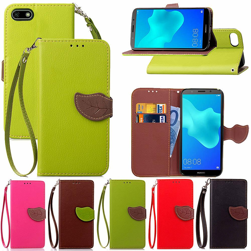 db35a0f239 For Huawei Y5 2018 Case Leaf Shape Flip Cell Phone Soft PU Leather Cover  With Wallet ID Card Money Holder Strong Hand Strap Heavy Duty Cell Phone  Cases ...