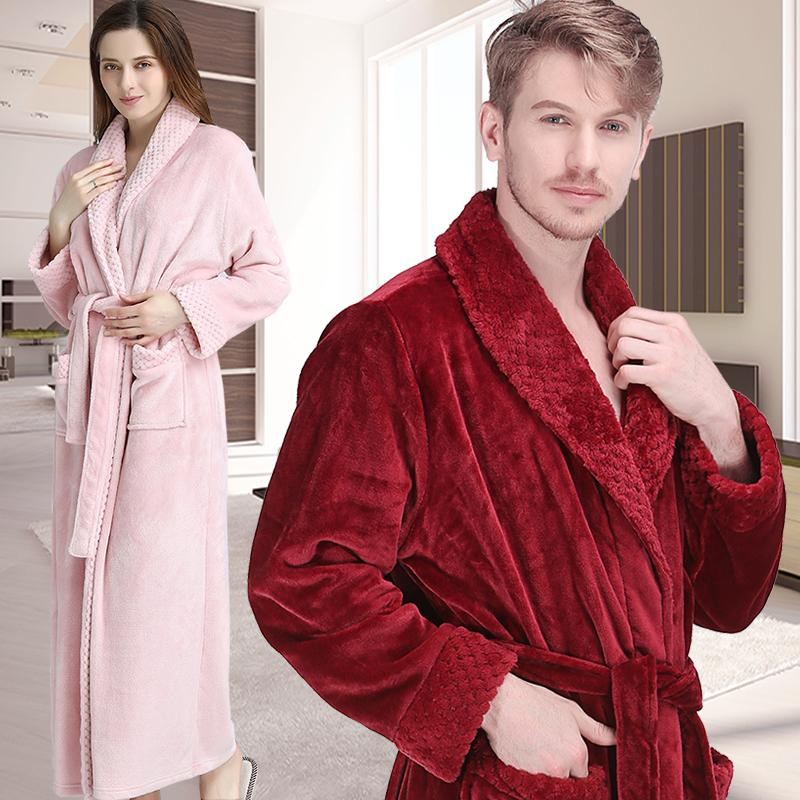 e1425d6199 2019 Women Men Winter Extra Long Warm Bathrobe Luxury Thick Flannel Grid Fur  Bath Robe Soft Thermal Dressing Gown Bridesmaid Robes From Smotthwatch