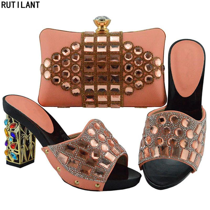 3c40c6b27a5 Latest Design African Shoes And Bag Matching Set Decorated With Rhinestone  Wedding Shoes Women Dress Shoes Woman High Heel Pumps Mens Shoes Online  Mens ...