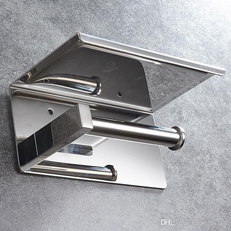 New Bathroom chromed toilet paper holder top place things platform stainless steel mirror polishedwall mounted hardware