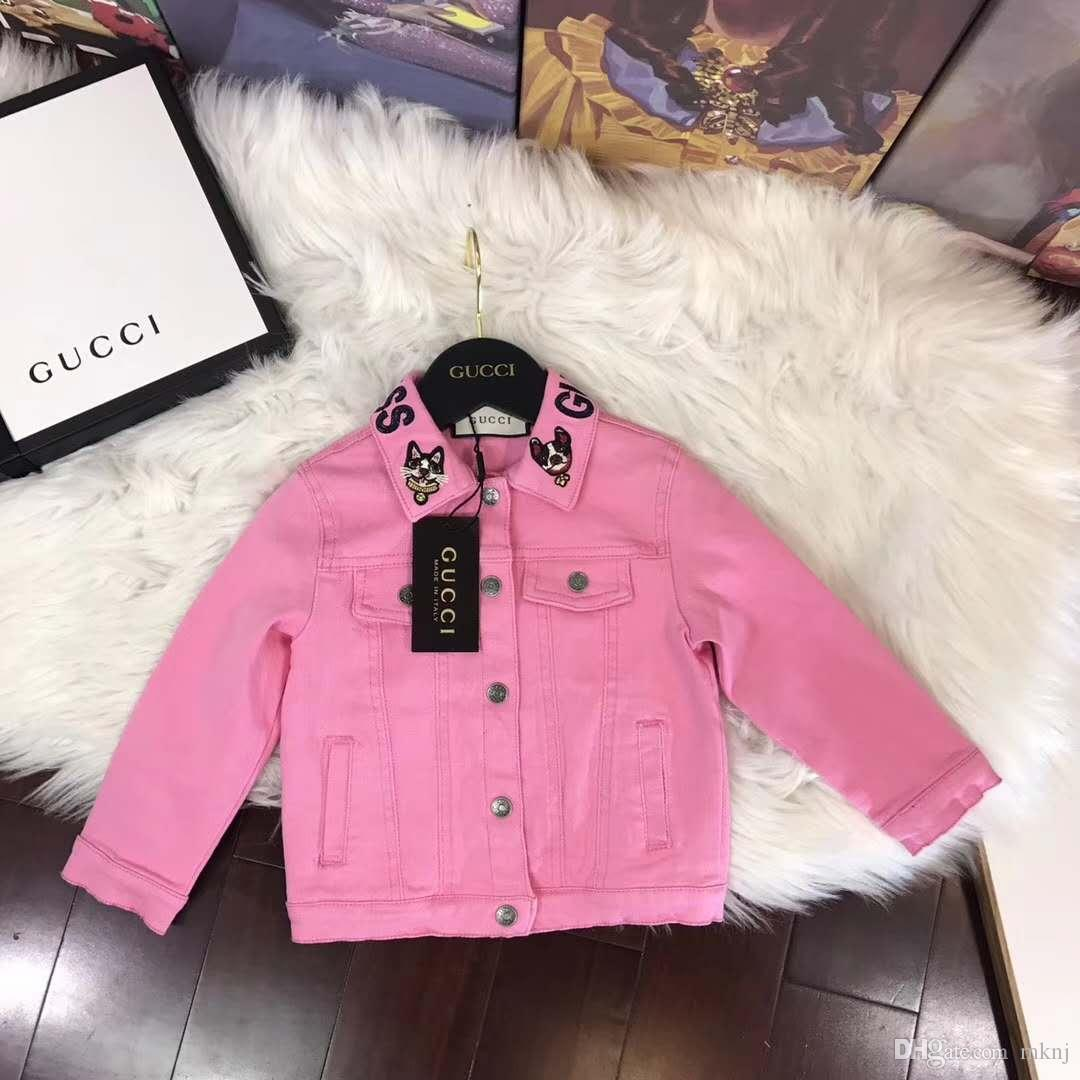 Kids Clothing Luxury Brand Girl Pink Denim Jacket High Quality